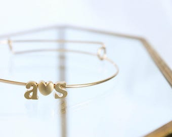 Initial Bangle - 14k Gold Filled - Couples Initial Bracelet - Adjustable Stackable Bangles - Gift For Her - Gift for Mom - Bridesmaid Gifts