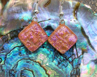 Peachy Pink Dichroic Glass Dangle Earrings