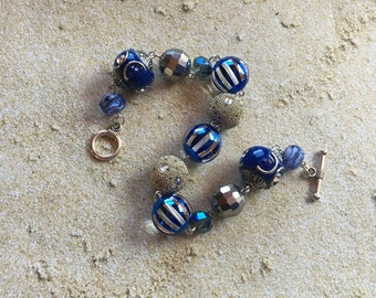 Blue and Silver Beaded Bracelet, Blue Bracelet, Beaded Bracelet, Beaded Jewelry