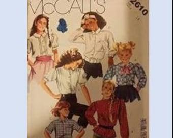 MCCALLS 2610, girls blouse, size 14, retro, dress shirt, collared shirt, button up shirt, pattern, sewing
