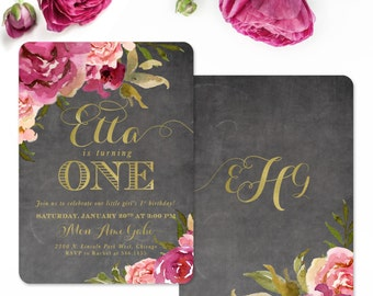 Burgundy, Blush Pink & Gold First Birthday Invitation Baby Girl, Chalkboard Flowers, Roses Floral, Party 1st Bday Invite - Any Age - Etta