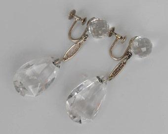 14K Rock Crystal Dangle Earrings, Art Deco Filigree, White Gold Drops, Screw Back
