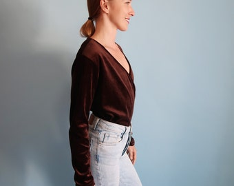 Chocolate Brown Velvet Wrap Top with Plunging Neckline
