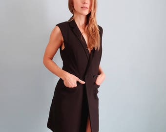 Black 90s Sleeveless Suit Dress/Waistcoat with Back Cutout!