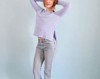 Beautiful Pastel/Lilac Sweater with Button Up Side