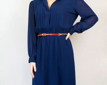 Vintage 70s 80s Navy Blue Shirt Dress - Semi Sheer Long Bishop Sleeve Shoulder Pads Cinched Waist Pleated Midi