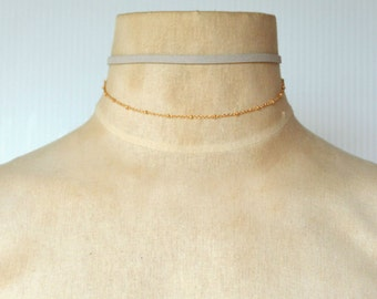 Dainty Gray Suede with Gold Chain Choker