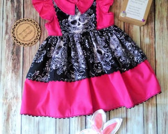 Vintage Goth, Punk, Rocker Style Dress, Pink And Black Skull Print Baby Girls Dress, Vintage Style Baby Dress, Gothic Style Dress, Punk