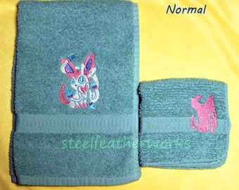 Sylveon Embroidered Towel Set (1 Hand Towel, 1 Washcloth) Made to Order