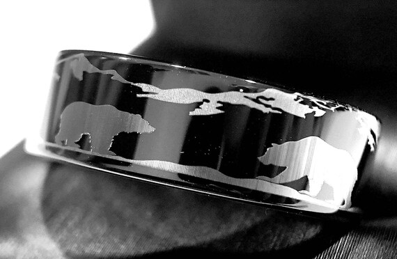 Wedding Bands Bears In Mountains Forest Landscape Ring Nature Mountain Black Tungsten Band Rings