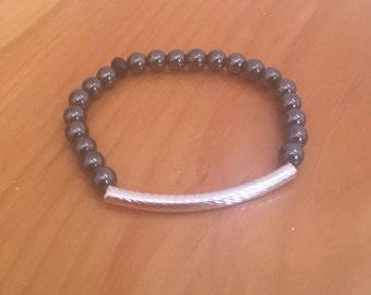 Silver Plated Bar + Hematite Beaded Bracelet