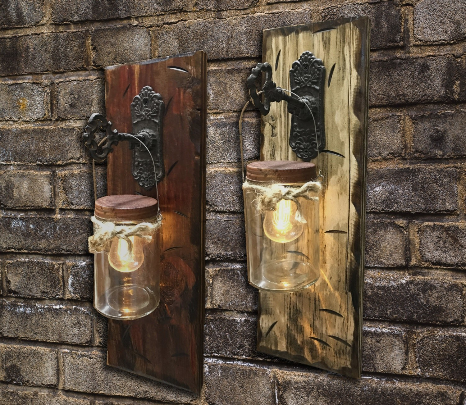 Wall SCONCE Edison Battery Operated LED Light Bulb in Rustic Mason Canning JAR & Key Hook ...