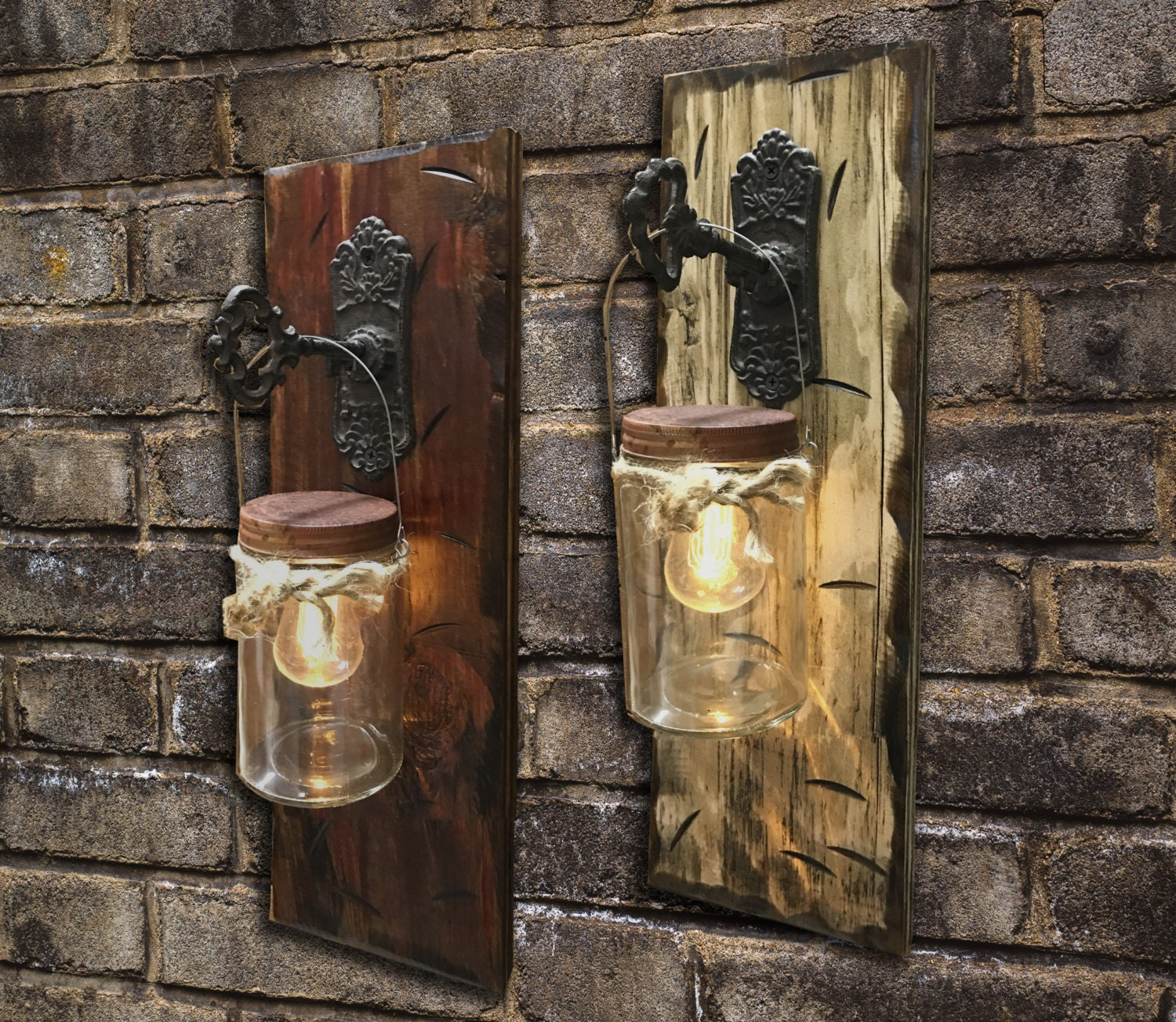 Decorative Battery Operated Wall Lights : Wall SCONCE Edison Battery Operated LED Light Bulb in Rustic Mason Canning JAR & Key Hook ...