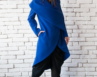 Blue Long Coat/Royal Blue Loose Jacket/Extravagant Large Collar Blazer/Casual Winter Coat/Asymmetric Blue Jacket/Plus Size Warm Coat