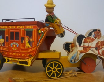 Vintage 1954 Fisher Price Gold Star Stagecoach #175