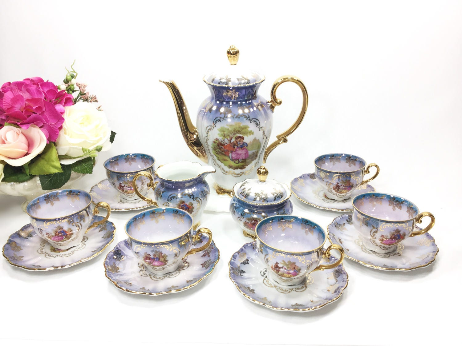 seltmann weiden bavaria porzellan 17 piece fragonard tea set german love story teaset courting. Black Bedroom Furniture Sets. Home Design Ideas