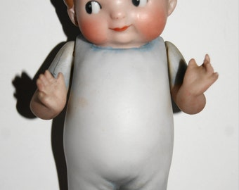 """Antique Googly Eye Chubby Toddler Doll Blue Molded Clothes Germany 1915 5"""""""