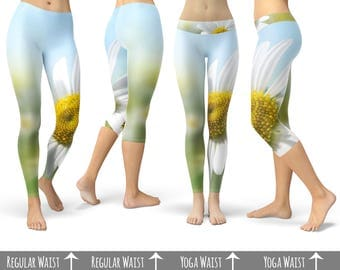 Daisies in Sunshine  - Capri or Full Length, Sports | Yoga | Fleece Leggings in XS-3XL  000407