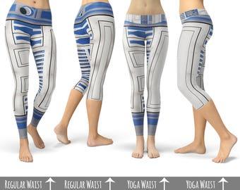 Little Blue Droid R2D2 Star Wars Inspired  - Capri or Full Length, Sports   Yoga   Fleece Leggings in XS-3XL  000855