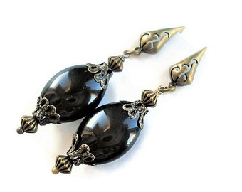 Onyx Earrings Black Jewelry Vintage Style Black Earrings Bohemian Jewelry Gemstone Earrings Everyday Jewelry Long Earrings Black Jewelry