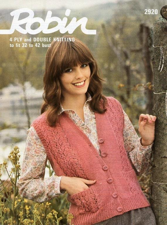 womens waistcoat knitting pattern PDF 4ply 0r DK ladies lace