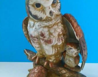 Vintage Ceramic Momma Owl With Baby, Nature Sculpture, Woodland Creatures, Retro, Owl Decor, Vintage Owl Figurine.