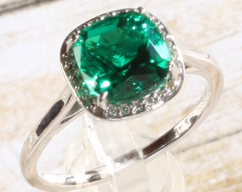 14K White Gold 2 Carat Antique Square Chatham® Brand Created Emerald &  .055 CTW Diamond Halo Engagement Ring