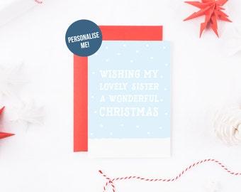 Christmas Card For Sister, Snow Christmas Card, Xmas Sister, Christmas Scene Card, Personalised Christmas Card For Sister, Cute Christmas