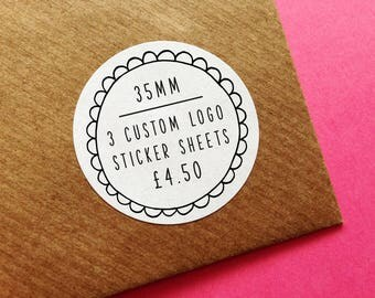 3 Custom Logo Stickers 35mm Sheet, Round Matt Customisable Business Labels, Design, Christmas & Birthday Gift Wrapping, Wedding Stickers