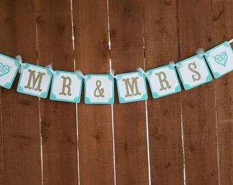 MR MRS BANNER, Wedding Banner, Wedding Decor, Beach Wedding Banner, Aqua Wedding Banner, Mr & Mrs Sign, Teal Wedding Decor, Beach Wedding