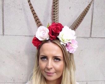 Festival Feather Flower Headband Large Boho Headdress Headpiece Red Rose 2926