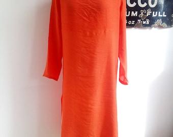 Boho Linen Floaty Orange Double Layered Dress, Cotton Long Sleeve Summer Dress, Maxi Dress, Beach Dress