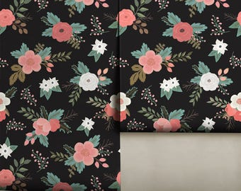 Sweet Floral / Black • Easy to Apply Removable Peel 'n Stick Wallpaper