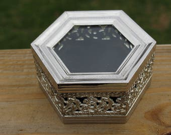 Studio Silversmiths Hexagon Trinket Box, Jewelry Box