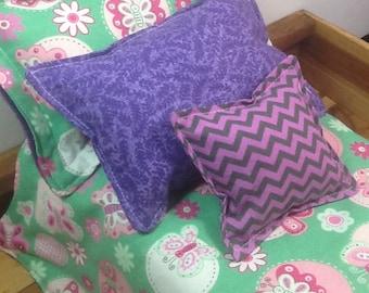 Doll Bedding set, pink flowers, butterflies, green background, purple fleece,  comforter, 3 pillows for 18 inch dolls,  4 piece set