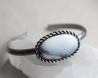 dendritic agate gemstone bracelet. natural winter snow cuff. antique sterling silver. handmade artisan jewelry