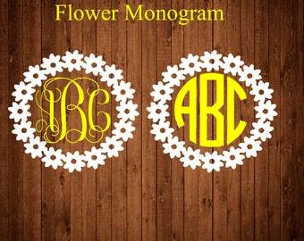 Flower Monogram decal, Monogram sticker, circle monogram, daisy decal,yeti cooler monogram decal, laptop decal, car decal, greek letters