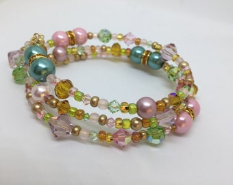Spring Colors Memory Wire Bracelet in Gold With Crystal Charm Ends (#3132) - Seed Beads, Crystals, Pearls, Gold
