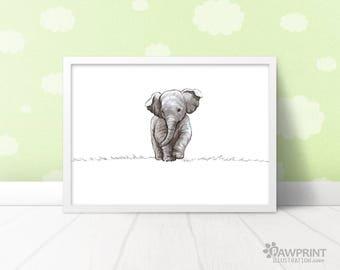 Baby elephant nursery art baby shower gift - kids room décor animal nursery art new baby gift, nursery safari decor nursery art elephant