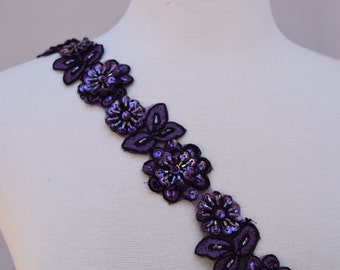 "18"" Grape Dark Purple Beaded Lace Trim with Sequins. Bordered with Black Wiring."