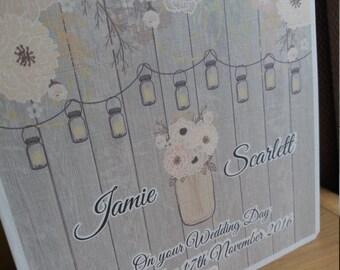 Personalised Wedding Congratulations card Rustic / Vintage personalised, Civil partnership card, Floral, Mason Jars. Celebration, keepsake.