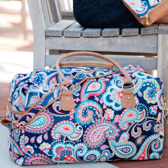 Monogrammed Duffle Bag, Navy Duffel Bag, Overnight Bag, Travel Bag, Monogrammed Gifts, Gifts for Girls, Personalized Gifts, Paisley Print