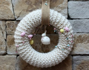 Easter Wreath, knitted with Easter Bunny and decorative eggs