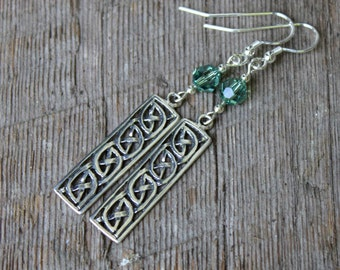 Sterling Celtic Knotwork and Swarovski Crystal Earrings