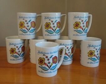 Vintage Berggren Swedish Coffee Cups, Set of 8   Sweden Folk Art Kitchen Decor   Scandinavian Coffee Mugs   Swedish Mid Century Kitchen