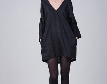 Linen black summer dress / Elegant v-neck dress / Woman's black dress / Black long sleeves tunic / Oversized pocket tunic / Fasada 1729
