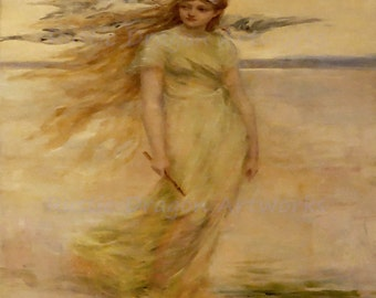 "Frederick Church ""The Viking's Daughter"" 1882 Reproduction Digital Print Vintage Decor  Woman Holding a Stick Standing by the Sea"