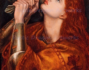 "Dante Gabriel Rossetti ""Joan of Arc"" Jeanne d'Arc 1882 Reproduction Digital Print Heroine France Lancastrian Religious"