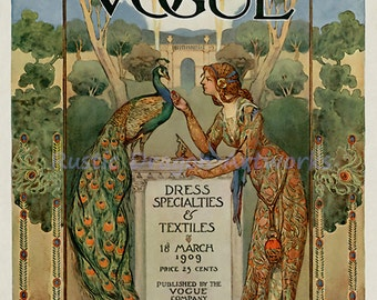 "Vogue Magazine Cover ""Dress Specialites & Textiles"" Young Woman Feed a Beautiful Peacock 1909 Reproduction Digital Print Art Nouveau"