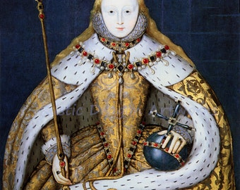 Elizabeth I in Coronation Robe 1610  Reproduction Digital Print Ruler England Queen of England and Ireland from 1558 to 1603 Monarchy